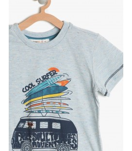 Koton Erkek Çocuk Tişört Baskılı T-Shirt Mavi 7YKB16794OK600