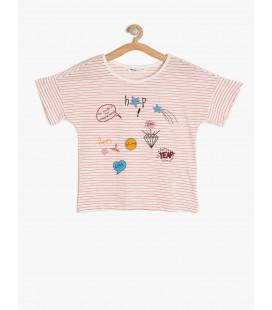 Koton Kız Çocuk Tişört Baskılı T-Shirt Kırmızı Çizgili 7YKG17366OK03M