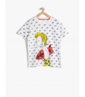 Koton Erkek Çocuk Tişört Baskılı T-Shirt Beyaz 7YKB16275OK05U