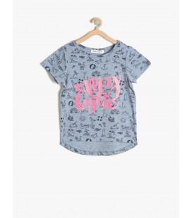 Koton Baskılı T-Shirt Turkuaz 7YKG17592AK607
