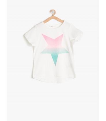 Koton Kız Çocuk Tişört Beyaz Kız Çocuk Yıldız Baskılı T-Shirt 7YKG17215OK000