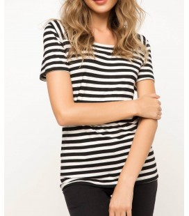 Defacto Kadın Çizgili Body Ekru T-shirt - H9552AZ