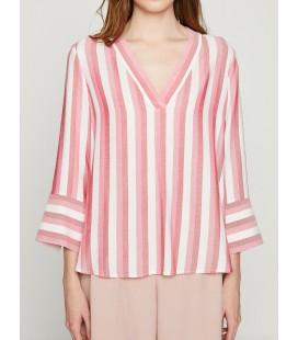 Koton Kadın Çizgili Bluz Kırmızı Çizgili 8YAK68877PW13N