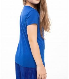 Defacto Mavi Genç Kız Yazı Baskılı T-Shirt K0407A6