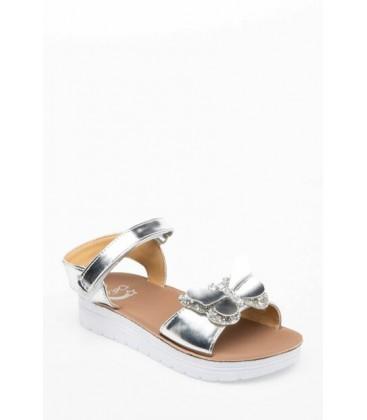 Defacto Gri Kız Çocuk Toka Detaylı Sandalet J6199A6