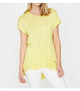 Koton Fırfır Detaylı Tişört Sarı 8YAK33516EK151