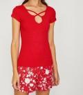 Koton Yaka Detaylı T-Shirt Kırmızı 8YAL11530JK401