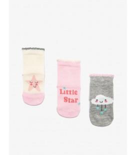 Koton Kız Bebek 3'lü Çorap Pembe 9KMG81044AA909