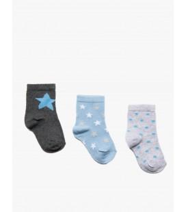 Koton Erkek Bebek 3'lü Çorap Mavi 9KMB80083AA600