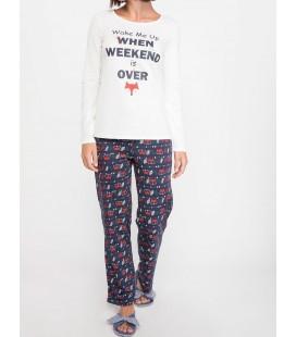DeFacto Kadın Desenli Pijama Takımı J7485AZ