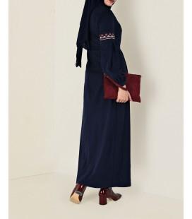 Alvina Lacivert İşlemeli Süet Elbise 4766 43811