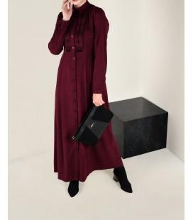 Alvina Bordo İşlemeli Süet Elbise 4766 43811