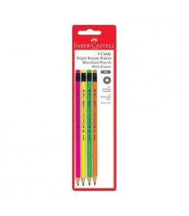 Faber Castell Candy Silgili Kurşun Kalem 4 Lü blister 112800