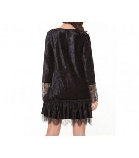 Kinzi Kadife Dantel Detaylı Elbise 182355