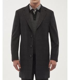 Altınyıldız Classics Erkek Antrasit Standart Fit Desenli Palto 4A0519100003
