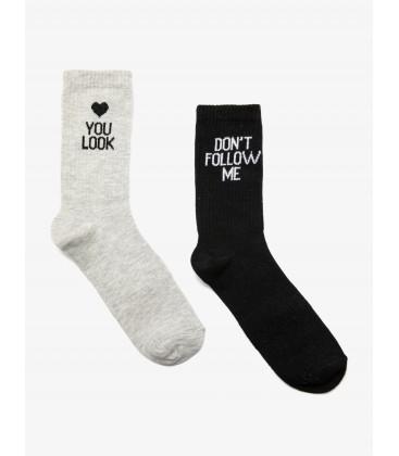 Koton Kadın 2'li Çorap Gri 9KAK82018AA040