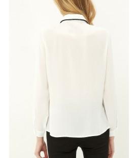 Koton Dantel Detaylı Gömlek Beyaz 7KAK66237IW001
