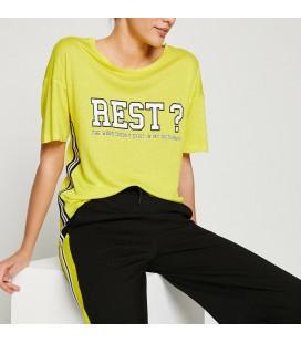 Koton Yazılı Baskılı T-Shirt Sarı 8YAK12726YK151