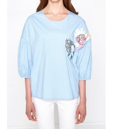 Koton Nakış Detaylı Bluz Açık Mavi 7YAK63905EW610