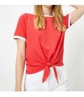 Koton Bağlama Detaylı T-Shirt Kırmızı 8YAL11141OK473
