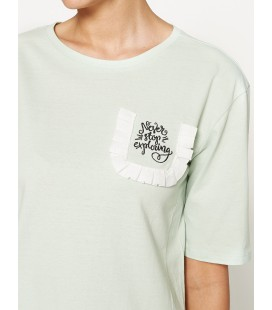 Koton Baskılı T-Shirt Yeşil 7YAL11966OK760