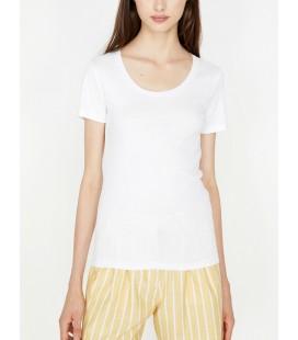 Koton Kadın Oyuk Yaka T-Shirt Beyaz 9KTK12085SK000
