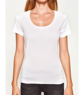 Koton Kadın Oyuk Yaka T-Shirt Beyaz 8KTK12085SK000