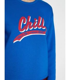 Koton Kadın Baskılı Sweatshirt Saks Mavi 9YAL18404IK665