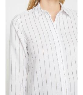 Koton Kadın Çizgili Gömlek Siyah Çizgili 9YAK68849CWJ02