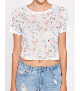 Koton Kadın Çiçekli T-Shirt Mavi 7YAL16447IK03V