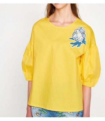 Koton Kadın Nakış Detaylı Bluz Sarı Bluz 7YAK63075EW151