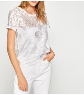Koton Kadın Dantel Detaylı T-Shirt Gümüş Rengi 7YAL16224OK12V
