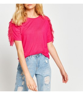 Koton Kadın Tül Detaylı T-Shirt Pembe 7YAK13499EK909