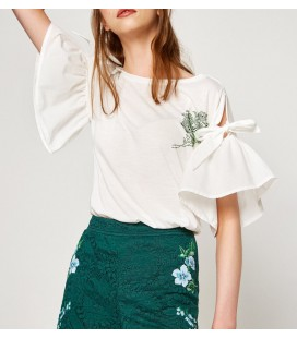 Koton Kadın İşlemeli T-Shirt Beyaz 7YAK13857EK000