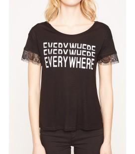 Koton Yazılı Baskılı T-Shirt Siyah 7YAK16315IK999