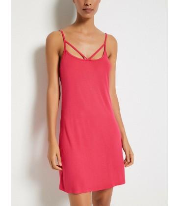 Koton Kadın Yaka Detaylı Elbise Fuşya 8YAK88608BK330