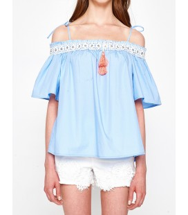 Koton Kadın Dantel Detaylı Bluz Mavi 7YAK63467QW600