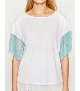 Koton Kadın Renk Bloklu T-Shirt Beyaz 7YAK13928GK001