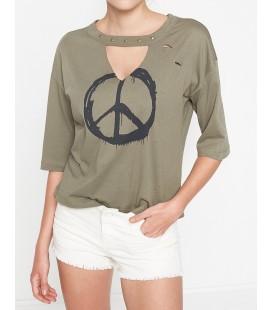 Koton Baskılı T-Shirt Haki 7YAL11885JK884