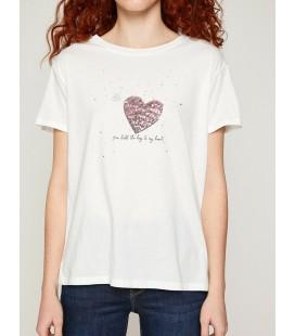 Koton Kadın Pul Detaylı T-Shirt Beyaz 8YAK13644QK001