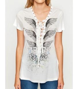 Koton Kadın Kuş Gözü Detaylı T-Shirt Beyaz 7YAL11152JK001