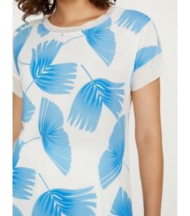 Koton Kadın Desenli Bluz Mavi 8YAK62080UW52C