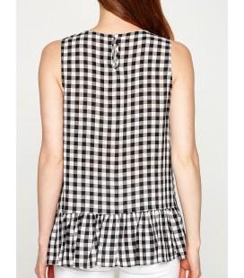 Koton İşlemeli Bluz Siyah Kareli 7YAK32308UWT62