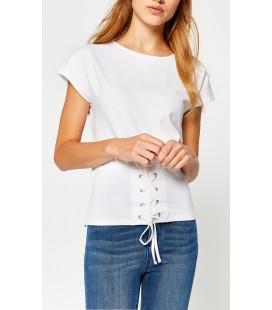 Koton Kuş Gözü Detaylı T-Shirt Beyaz 7YAK13455QK000