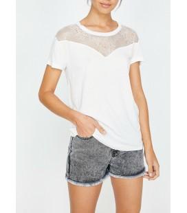 Koton Dantel Detaylı T-Shirt Ekru 8YAK13036QK002