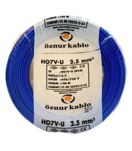 Öznur HO7Z-U 8NYA) 2.5mm 450/750 V Kablo - Mavi 100mt