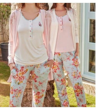 Feyza Bayan 3 lü Hırkalı Pijama Takımı 3258