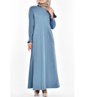 Sefa Merve Miss Paye İncili Elbise 8019-03 Mint Yeşili