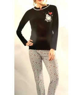 Loya 8990 Kadın Pijama Takımı Siyah Gri