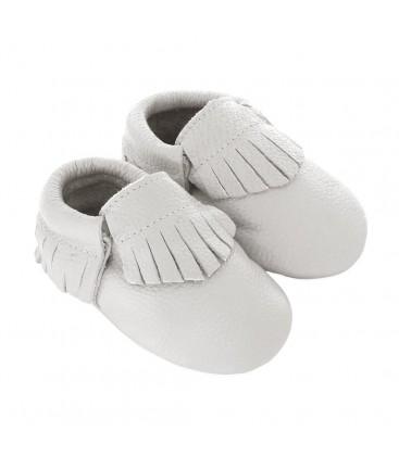 Romirus Bebek Ayakkabısı Beyaz Deri - Saçaklı Model